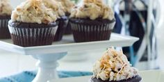 Gluten-Free, Vegan German Chocolate Cupcakes- Chocolate and coconut lovers will flip for this vegan cupcake recipe with all the classic flavors of German Chocolate Cake – deep, rich chocolate cupcakes topped with a sweet and satisfying coconut frosting.