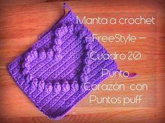 Manta a crochet FreeStyle cuadro 20: punto de corazón con punto puff (zurdo) - YouTube
