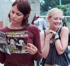 Lauren Cohan (Maggie) and Emily Kinney (Beth) behind the scenes