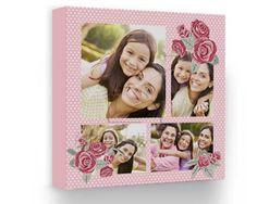 Scegli questa tela collage con piccole rose e sfondo a pois