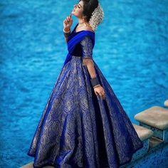 Wearing a blue bridal lehenga for your big day? These blue bridal lehengas will up your glamour quotient. The unique lehenga is in huge demand nowadays. Take cues from these designer lehenga. Brocade Lehenga, Half Saree Lehenga, Lehenga Saree Design, Lehnga Dress, Lehenga Designs, Choli Designs, Bridal Lehenga, Silk Brocade, Anarkali Kurti