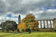 Autumn in Edinburgh on Calton Hill, the Athens of the North.