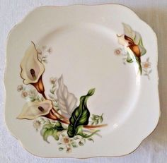Details about Grace China Wood Lily Salad Plate 8 in Japan Retired Pattern Calla Gold Trim & Pacific Rim China Dinner Plate Hand Painted Floral Black Rose Iris ...