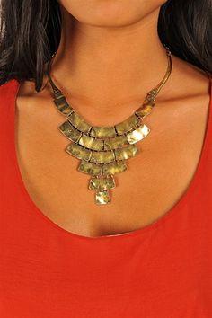 Bronzed Babe Statement Necklace - Bronze