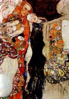 """peinture autrichienne : Gustav Klimt, """"la jeune mariée, détail"""", 1918"""