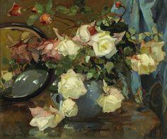 Franz Bischoff (American Impressionist, 1864-1929)  Roses in a Blue Bowl