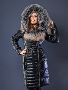 Coats For Women, Jackets For Women, Clothes For Women, Fur Fashion, Womens Fashion, Fox Fur Jacket, Hooded Winter Coat, Leder Outfits, Puffer Coats