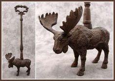 Stag Moose with Antlers Cast Iron Door Porter Doorstop | eBay-Livingezee Home and Garden Decor