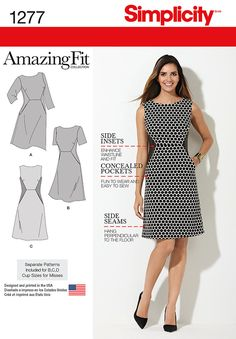 Simplicity Pattern 1277 Miss and Plus Amazing Fit Dress Simplicity Amazing Fit dress pattern for miss plus sizes features bust darts contrast side Sewing Dress, Dress Sewing Patterns, Sewing Clothes, Clothing Patterns, Pattern Dress, Sewing Coat, Fabric Sewing, Skirt Patterns, Coat Patterns