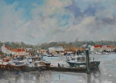 Michael EWART-Moorings at Whitby - Paintings of seaside towns in England at the www.redraggallery.co.uk