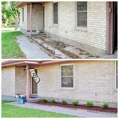 A DIY landscaping tutorial for adding boxwoods or plants to the front of your ho… A DIY landscaping tutorial for adding boxwoods or plants to the front of your home to boost curb appeal. Inexpensive Landscaping, Large Backyard Landscaping, Backyard Ideas, Landscape Design, Garden Design, Spring Landscape, Landscaping Supplies, Landscaping Tips, Gardening