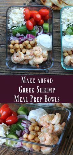 Make-ahead Greek Shrimp Meal Prep Bowls. Easy healthy meal prep recipe #mealprep