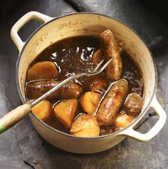 One of the many variations of stovies, this one uses sausages and potatoes. Its also gluten free so is suitable for coeliacs.