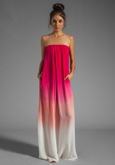 YOUNG, FABULOUS & BROKE Karissa Maxi Dress in Fuchsia Ombre - Jersey