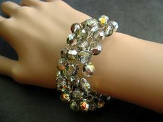 Sparkly Czech Crystal Twisted Wire Multi Strand Bangle