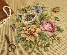 "23"" Vtg PREWORKED Needlepoint Canvas Flowers Petit Point Pink Rose Poppy Bunch | eBay"