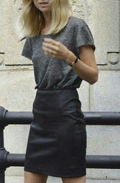 #ElinKling keeping it simple with a grey tee & leather skirt. Stockholm.