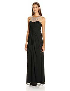 c3086309330d Adrianna Papell Womens Illusion Neckline with Necklace Sleeveless Gown Black  12 ** Continue to the