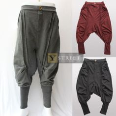 Drop Crotch Harem Baggy Stretch Cotton French Terry Unisex Dancing Pants B080 | eBay Latest Outfits, Cool Outfits, Casual Outfits, Fashion Outfits, Dance Pants, Harem Pants, Trousers, Apocalyptic Fashion, Cyberpunk Fashion