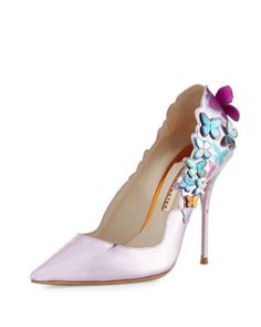 Harmony+Metallic+3D+Butterfly+Pump,+Rosa+by+Sophia+Webster+at+Neiman+Marcus.