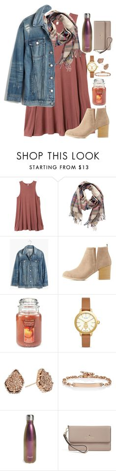"""yay for fall!!!"" by valerienwashington ❤ liked on Polyvore featuring RVCA, Pieces, Madewell, Charlotte Russe, Yankee Candle, Tory Burch, Kendra Scott, Hoorsenbuhs, S'well and Kate Spade"