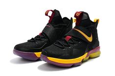 more photos 02e52 2fea3 New Lebron James Shoes 2017 LeBron 14 XIV Black Cavs Burgundy Yellow Lebron  James Shoes 2017