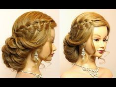 Prom, wedding updo. Hairstyle for long hair with 4 strand waterfall braid. - YouTube