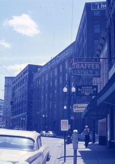 This is the Quaker Oats building on S. Howard St., looking south towards Main and Bowery streets. Picture taken May 24, 1959 - Photo posted on Facebook by Karen Ricketts Phillips.