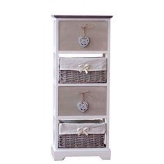 Girly συρταριέρα από ξύλο Paulownia, με δύο συρτάρια με διακοσμητικές καρδιές και δύο ψάθινα καλάθια με υφασμάτινη επένδυση και λευκή και γκρι απόχρωση. Nightstand, Dresser, Country Decor, Furniture, Decoration, Google, Home Decor, Decor, Powder Room