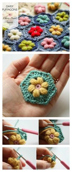 Crochet Daisy Puffagon with Free Pattern