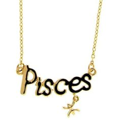 Pisces Horoscope Zodiac Nameplate Necklace, Astrogirl! In Gold GirlPROPS. $3.99