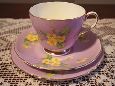 Vintage Shelley Trio Richmond Shape 'Primrose' on Mauve Background 13786 #Shelley #Cupsaucerplatetrio