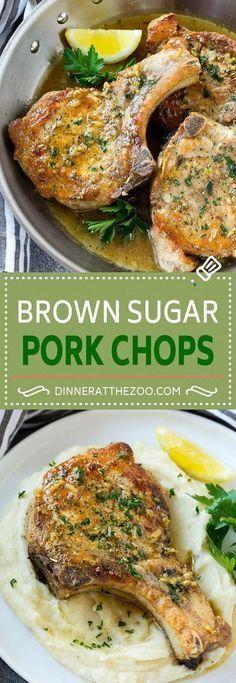 Brown Sugar Pork Chops Recipe Bone In Pork Chops Recipe Garlic Butter Pork Chops Skillet Pork Chops Easy Pork Chop Recipes, Pork Recipes, Cooking Recipes, Pork Lion Chops Recipes, Best Pork Chop Recipe, Potato Recipes, Pasta Recipes, Crockpot Recipes, Salads