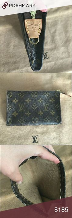 % Authentic LV Pouch LV pouch to petite PM shoulder bag. The sticky linking has been removed leaving a not perfect but smooth-like cloth interior. I personally don't recommend putting anything unless professionally done at the LV or leather store. Part of the date code was removed in the process but was made in France and factory code was AR. Excellent condition on the outside and can be used as a clutch, wallet or for cosmetics.  Please feel free to ask questions. Dust bag not included…