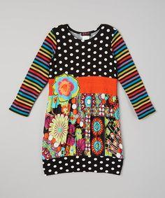 Black Dot Floral Dress - Girls #zulily #zulilyfinds