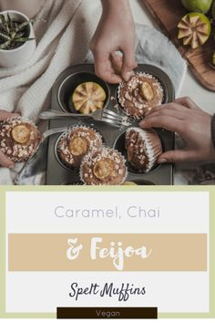 Caramel, Feijoa and Chai Spelt Muffins - That Green Olive Vegan Caramel, Olive Recipes, Spelt Flour, Dried Fruit, Chai, Tart, Muffins, Spices, Breakfast