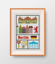 Berlin cross stitch pattern, Instant Download, PDF, Little Berlin, P092 by NataliNeedlework on Etsy