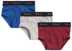 Boys 3 Pack 100% Cotton Tagless White and Assorted Colors Briefs