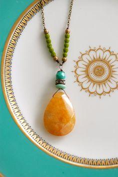 Skyler. Calcite gemstone,glass beaded rhinestone necklace. Tiedupmemories