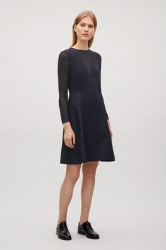 COS image 1 of Dress with sheer inserts in Dark Navy
