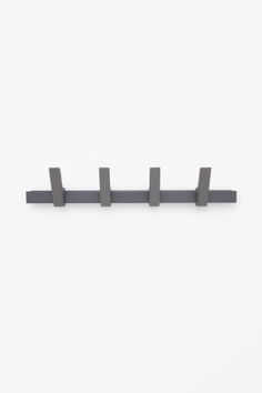 BEAM COAT RACK - This five-hook coat rack is made from sturdy aluminium with a powder-coated finish. The rack can also be used as a shelf to display prints or store smaller items. Coat Hanger, Spare Room, Danish Design, Deco, Apartment Therapy, Beams, Shelves, Hooks, Prints