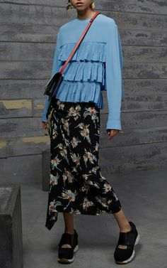 Marni Resort 2017 Long Sleeve Tiered Top $1,090, Floral Printed Skirt $1,290