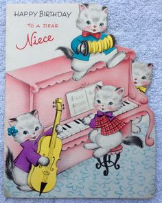 Four of the Most Adorable Kittens Pink Piano Accordion 60s Vintage Birthday Card