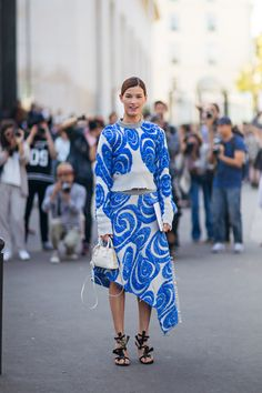 Hanneli Mustaparta -  - I'm wearing a skirt, sweater and heels from Acne Studios and a bag from Prada.