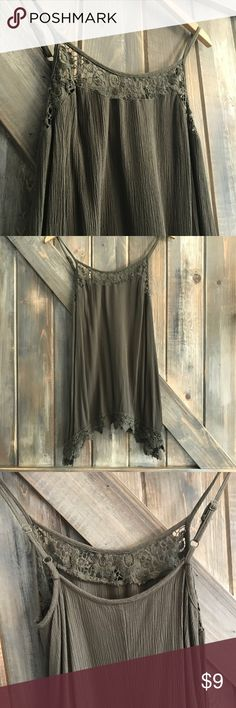 ✨NEW✨ Olive green crochet trimmed tank top Only worn a few times! Very roomy and comfortable! Adjustable straps! Mossimo Supply Co Tops Tank Tops