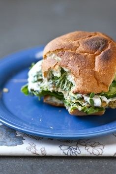 falafel burgers slathered greek yogurt, avocado and sprouts