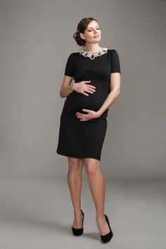 Jeweled Neckline Sheath Maternity Dress