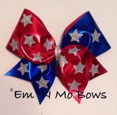Red, White, and Stars Tick Tock Cheer Bow on Etsy, $15.00