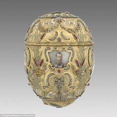 Intricate pieces: A Faberge egg  decorated with a portrait of Peter the Great was given by Tsar Nicholas II to his wife, made by Mikhail Perkhin in 1903