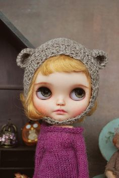 Handmade Teddy HAT for BLYTHE doll hand knit outfits